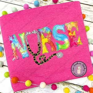 Raggedy Nurse Stethascope Applique Design